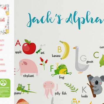 Alphabet for Kids and Children, Customized Canvas print or Poster, educational, child learning, kids room decor, wall art, canvas, poster