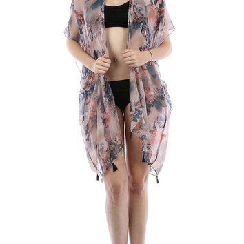 Purple Floral Doily Print Sheer Cover Up Poncho