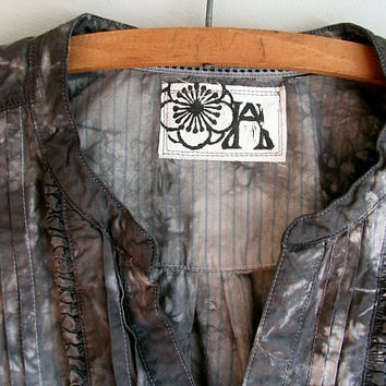 Upcycled Tunic Blouse / Somber Grey Shibori / Eco Hand Dyed / Refashioned Indie Grunge Shabby Chic Eco Clothing / Plus Size Xlarge