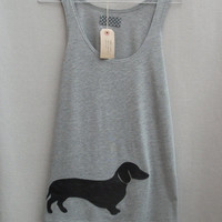 Women's Leather Daschund Top Handmade Grey Cotton Tunic Vest Tank Singlet Top