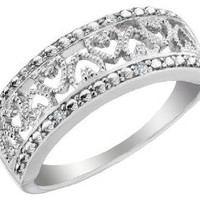 Diamond Accent Heart Promise Ring in Sterling Silver
