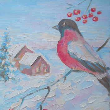 Christmas Greeting Card Happy Holyday Custom Landscape Winter Small Original Oil Painting New Year Bullfinch House Forest Contemporary Art