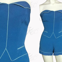 1950s Swimsuit, 1950s Bathing Suit, 1950s Swimwear, Vintage Swimsuit, Vintage Swimwear, Blue Swimsuit, Catalina Swimsuit, Small Swimsuit