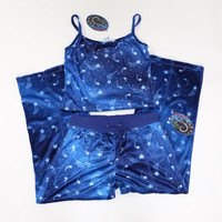 90s Y2K Blue Velvet PJs Lounge Mudd Sleepwear Shooting Star Celestial Glitter Tank Top & Bottoms