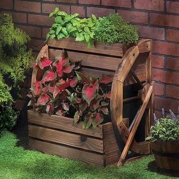 Wagon Wheel Two-Tier Rustic Planter