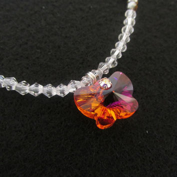 Swarovski Butterfly Necklace - Genuine Swarovski Crystal Elements Orange Butterfly Charm Necklace - Adjustable Beaded AB Crystal Jewelry