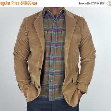 SALE L Vintage 90s GAP Blazer Tan Corduroy / 90s Professor Blazer Jacket / Men's Corduroy Sport Coat / Preppy Men's Jacket / 90s Preppy Styl