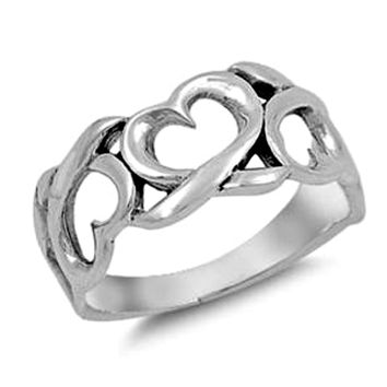 .925 Sterling Silver Infinity Heart Eternity Band Ladies ring size 5-10