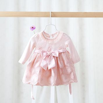 2016 spring children's wear girls clothes of long sleeved dress baby lace sweet and lovely princess dress clothes for baby