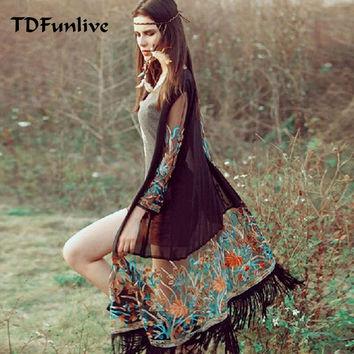 TDFunlive Tassel Embroidery long ethnic floral cardigan Chiffon Vintage cover ups summer women mujer ropa feminina Sun Shirt