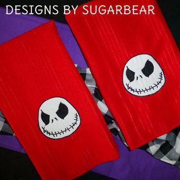 NiGHTMARE BEFoRE CHRiSTMaS JacK SkeLLingtoN Towels Bright ReD GoRgeouS  & DeLiciOuS ToWeL SeT!
