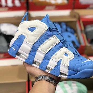 Nike Air More Uptempo white/blue Basketball shoe Size 36-45