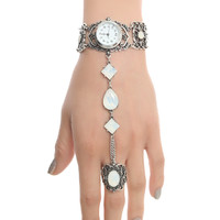 Blackheart Silver Filigree Hand Harness Watch