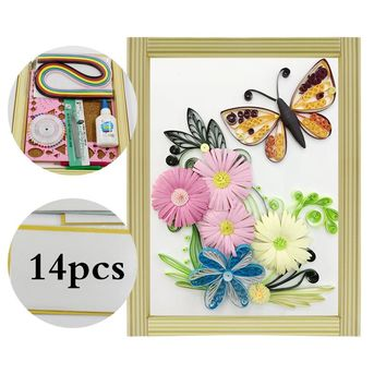 16 colorful Quilling Paper Craft Kits 14Pcs Tool set Rolling Strips Butterfly  Flower Decorating