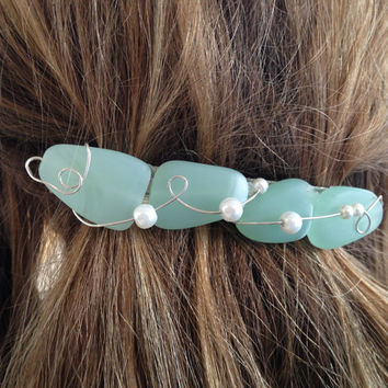 Sea Glass Barrette Large, Mermaid Hair Clip Gree Sea Glass Ocean Hair Accessory Beach Bride Beach Wedding Bridesmaid Gift Nautical Jewelry