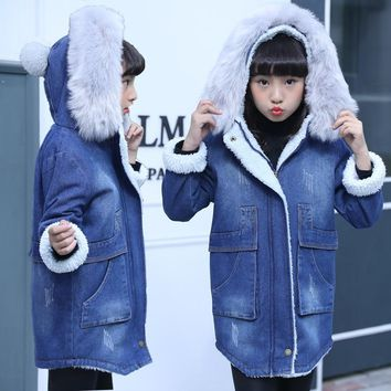 autumn Winter Girls Jacket Children Clothes Denim Jackets Long Warm Clothing Kids faux fur Coats Cotton Hooded Outwear For Girl