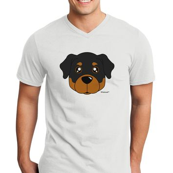 Cute Rottweiler Dog Adult V-Neck T-shirt by TooLoud
