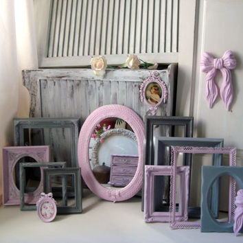 Pink and Gray Nursery Frames, Light Pink and Gray Painted Frame Collection, Pink Oval Ornate Mirror, HOMCO, Vintage Ornate Frame Set