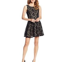 Speechless Juniors Lace Fit and Flare Short Dress with V-Back, Black Nude, 3