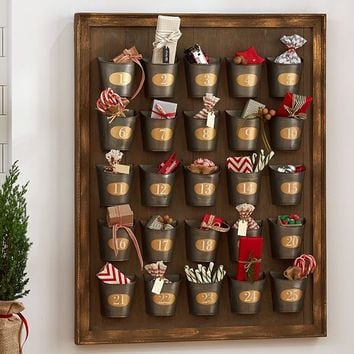 Gilt Galvanized Advent Calendar