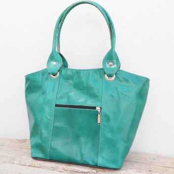 Light Green leather tote, shoulder, shopping, Woman, College, School Bag, Handmade Leather Handbag, Gift For Her