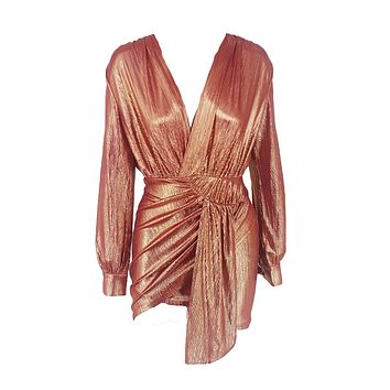 She's Got It All Rose Gold Metallic Long Lantern Sleeve Cross Wrap V Neck Ruched Wrap Tulip Bodycon Mini Dress - 4 Colors Available