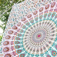 HANDICRAFTOFPINKCITY White Peacock Mandala Tapestry Twin Bedspread Bohemian Bedding Hippie Wall Décor tapestry