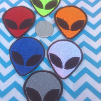 2 inch Alien  Patch, Embroidered  Alien, Iron on Alien or Sew on Alien