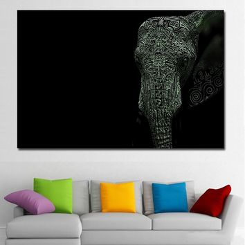 SELFLESSLY unframed black white Elephant Painting Canvas modern home decoration wall art picture for living room print painting