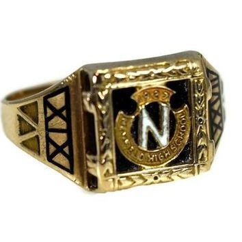 Vintage Newfield High School 10k Gold Class Ring Art Deco Enamel Selden NY