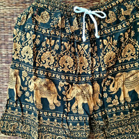 Unisex Summer Beach Shorts Elephants Print Boho Hippie Hipster festival Clothing Aztec Ethnic Bohemian Short Pants Men Women Fashion Yellow