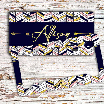 Personalized license plate, Aztec front license plate or frame, Chevron car tag, Tribal bicycle plate, Chevron car accessories unique (1426)