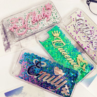 Tailand Exclusive Customize Name liquid glitter soft case for iphone 5 5s SE 6 6s 7 plus for Samsung Galaxy s6 s7 s8 edge note 5