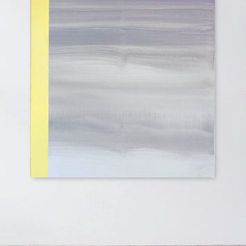 On Edge Abstract Painting, Gray White Yellow Painting, Contemporary Landscape