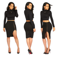 Black Long Sleeve Crop Top and Lace-Up Skirt