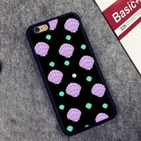 Seashell Pattern Pink Mint Mermaid Soft Rubber Mobile Phone Case For iPhone 6 6S Plus 7 7 Plus 5 5S 5C SE 4 4S Back Cover Shell