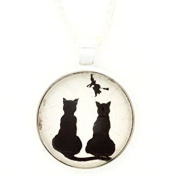 Flying Witch Black Cats Necklace Vintage Halloween Art Silver Tone Dome Pendant NQ47 Fashion Jewelry