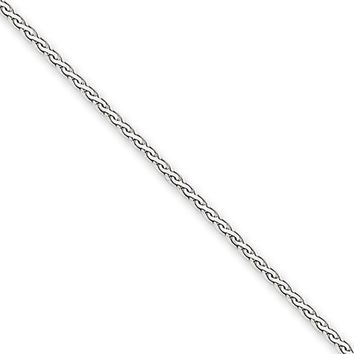 1.8mm, 14k White Gold, Flat Wheat Chain Necklace, 24 Inch