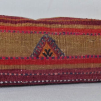 LUMBAR Turkish Kilim Pillow Cover, Pale Olive Bordo Decorative Patchwork  Lumbar Pillow, Throw Piillow 11.4' x 24 ' INCH