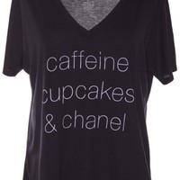 CAFFEINE CUPCAKES CHANEL TEE/ BLACK by CASUAL FRIDAY