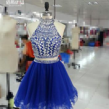 Ball Gown High Collar Two Pieces Short Cocktail Dress Sparkly Crystal Beaded Homecoming 2 in 1 Above Knee Mini Prom Gowns Dress
