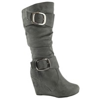 Womens' Over the Knee High Faux Suede Wedge Boots Gray Sz 5.5-10 buckl