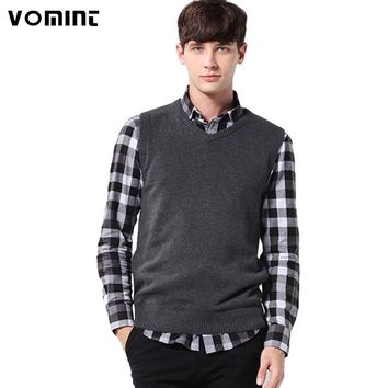 2016 Mens' Pullover Sweater Vest V-Neck New Sweater 100% Cotton Knitted Plus Size Slim Class Vest Size: S-3XL  S6AW003