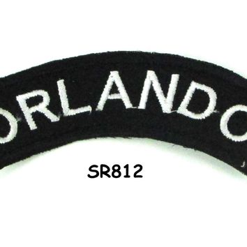 Orlando White on Black Small Rocker Iron on Patches for Biker Vest and Jacket