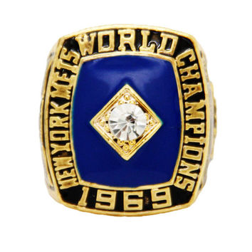 2015  Gold Plated Jewelry Sport Jewelry 1969 NY Mets World Series Championship Ring For Men Ri