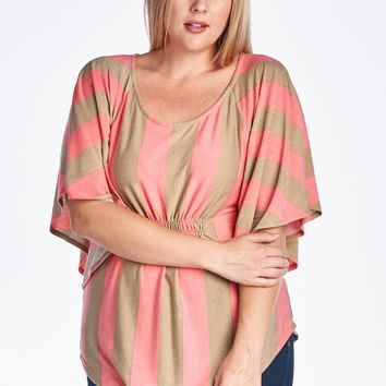 Women's Plus Size Stripe Cape Sleeve Top