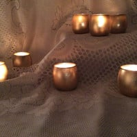 23 Gold glass candle holders with tea light candle wedding candle table decoration