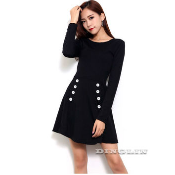 Casual Women's Autumn Winter Stylish Dress Clothes Black Long Sleeve Button O Neck Solid Women Fashion Party Mini Dresses CL3336