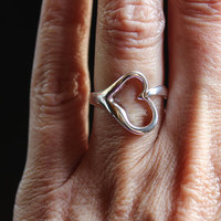 925 Sterling Silver large opened heart ring