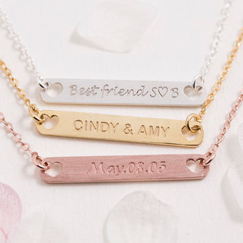Engraved Bar Necklace Personalized Bar Necklace Birth Date Name Initial Roman Numeral Bridesmaid Gift for Her Sterling Silver LVMKE15
